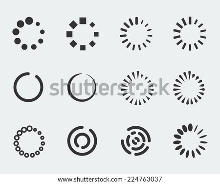 Loading indicators vector icon set - stock vector