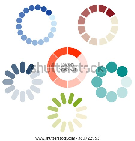 Loading process circular icon set. Color pie chart. Gradient color transition in circle. For visualization of loading applications, games. Smooth color change in rotation. Vector upload, download bar. - stock vector