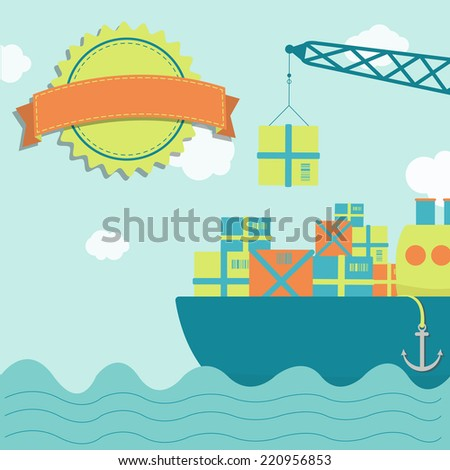 Loading the vessel. Crane loading ship with goods. Blank stamp for insert text. - stock vector