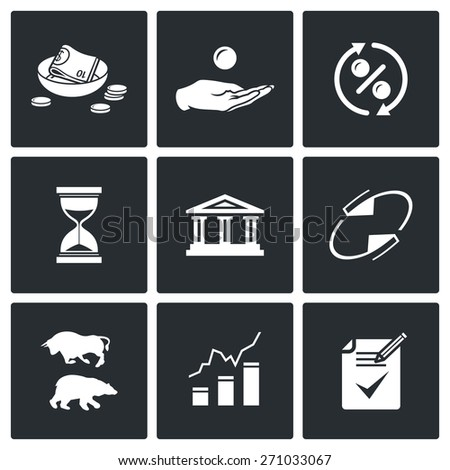 Loan icons: charity, alms, loan, interest, time, bank refund, exchange, quotation, contract. Vector Illustration. - stock vector