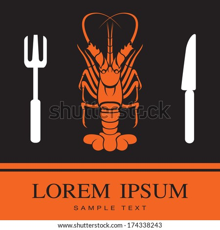 Lobster, Fork and Knife icon, restaurant sign - stock vector