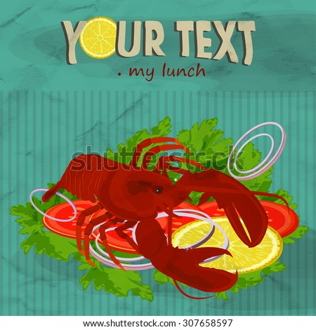 Lobster poster design. Image of crumpled paper. - stock vector