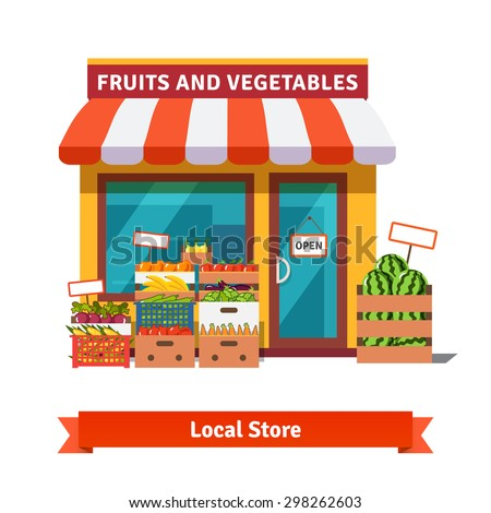 Local fruit and vegetables store building. Groceries crates in front of storefront. Flat isolated vector illustration on white background. - stock vector