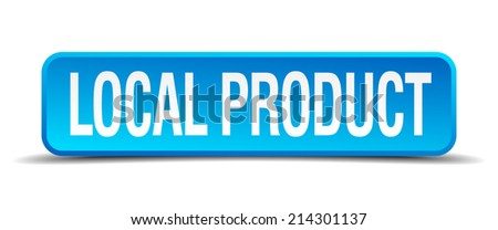 local product blue 3d realistic square isolated button - stock vector