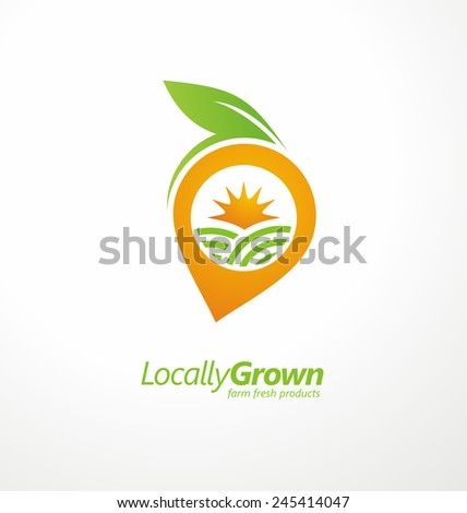 Locally grown food from local farmers vector label template. Vegetable logo design concept layout. Fruit symbol with sun and fields. Farm fresh products icon layout. - stock vector