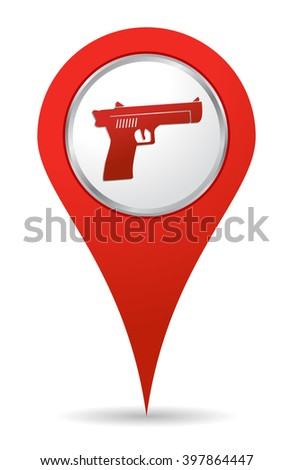 location gun icon in red color - stock vector