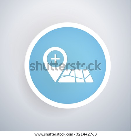 Location icon on blue button background, clean vector - stock vector