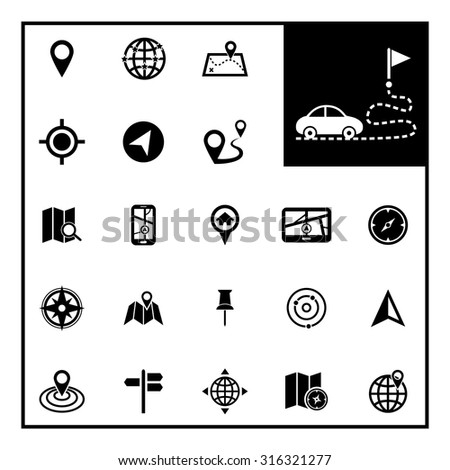 Location icons. Map icons. Navigation icon. Vector Illustration. EPS10 - stock vector