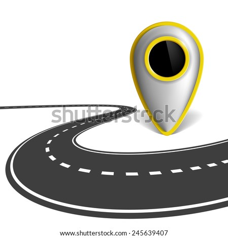 Location indicator and the road isolated on white background - stock vector