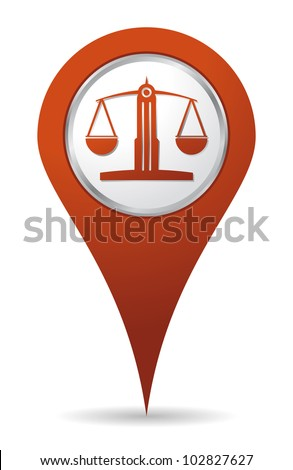location lawyer balance icon, justice - stock vector
