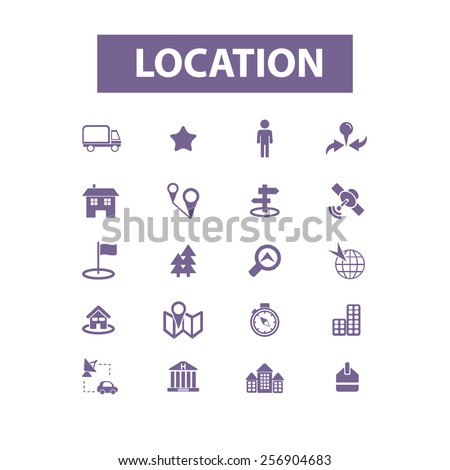 location, map, route isolated icons, signs, illustrations concept set on background. vector - stock vector