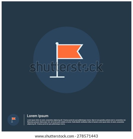 Location marker Flag icon, vector illustration. Flat color design style - stock vector
