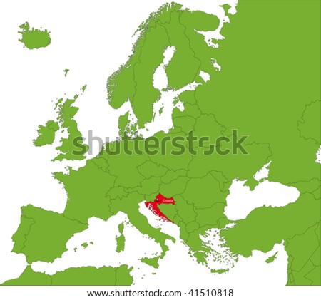 Location of Croatia on the Europa continent - stock vector
