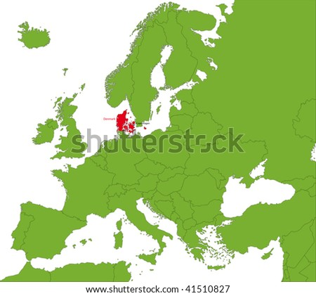 Location of Denmark on the Europa continent - stock vector