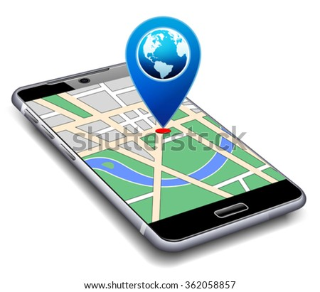Location Pointer with World Globe on Phone - stock vector