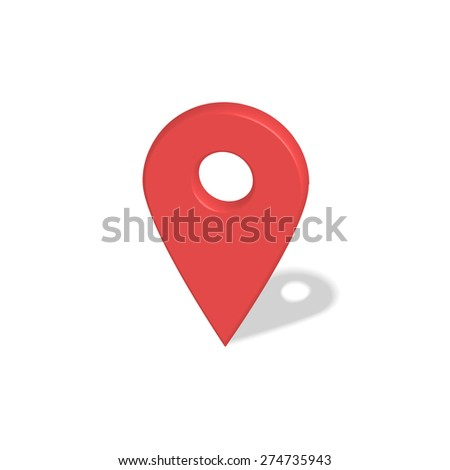 Location red pointer 3d symbol with shadow isolated on white  - stock vector