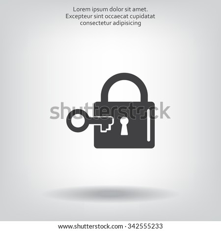 Lock and key vector icon. - stock vector