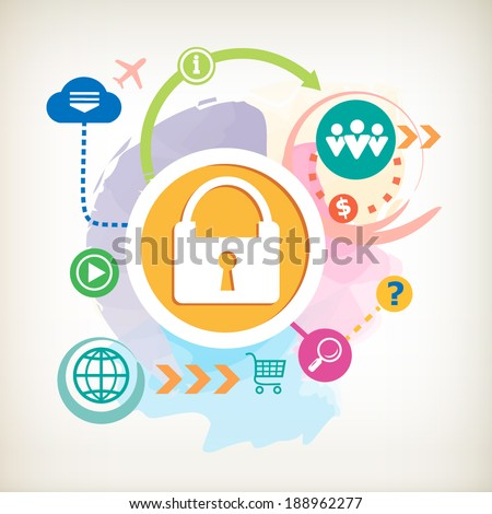 Lock and question mark on abstract colorful watercolor background with different icon and elements. Design for the print, banner. - stock vector