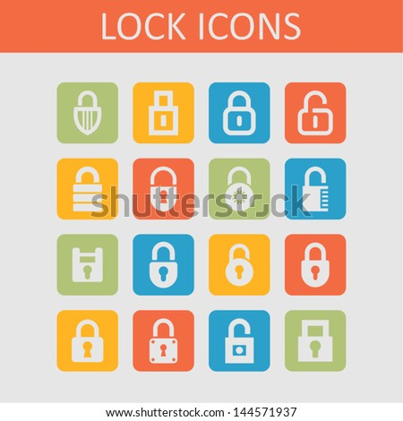 Lock and security icons - stock vector