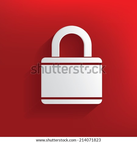 Lock design on red background,clean vector - stock vector