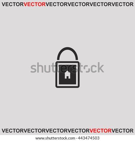 Lock house icon. Grey image on grey background. Web icon. - stock vector