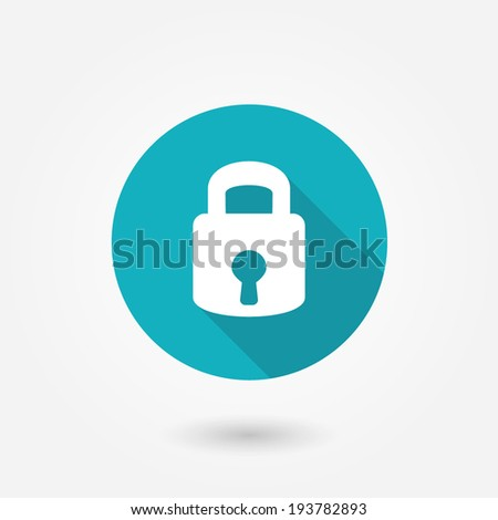 Lock icon. Flat design style modern vector illustration. Isolated on stylish color background. Flat long shadow icon. Elements in flat design.  - stock vector