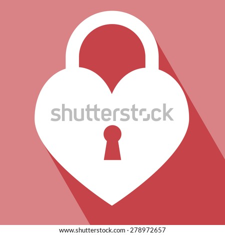 Lock Icon. Lock on red Background. Lock Icon vector isolated on red background. Lock Icon with Long Shadow. All in a single layer. Elements for design. EPS 10 vector illustration for design. - stock vector