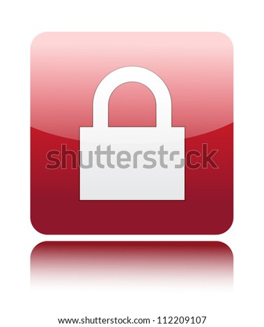 Lock icon on red glossy button - stock vector