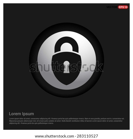 lock icon, padlock icon - abstract logo type icon - Realistic Silver metal button abstract black background. Vector illustration - stock vector