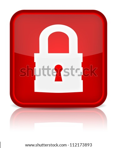 Lock icon. Sign with reflection isolated on white. Vector illustration - stock vector