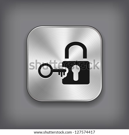 Lock icon - vector metal app button - stock vector
