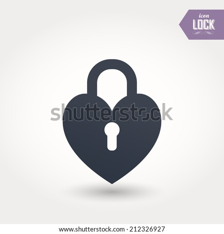 lock icons. A simple silhouette of the lock for the door. Shape of a heart. - stock vector