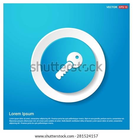 Lock Key Icon - abstract logo type icon - abstract Blue button on white sticker shadow background. Vector illustration - stock vector