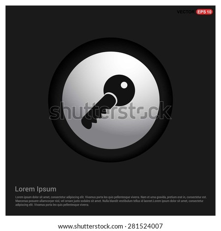 Lock Key Icon - abstract logo type icon - Realistic Silver metal button abstract black background. Vector illustration - stock vector