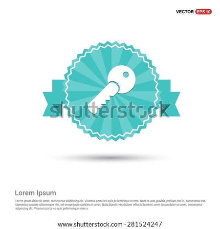 Lock Key Icon - abstract logo type icon - Retro vintage badge and label turquoise background. Vector illustration - stock vector