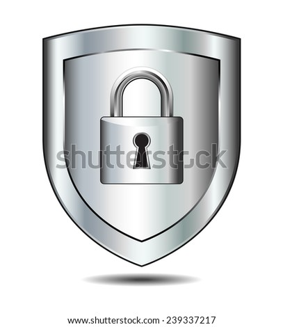 Lock on Shield - concept internet protection - stock vector