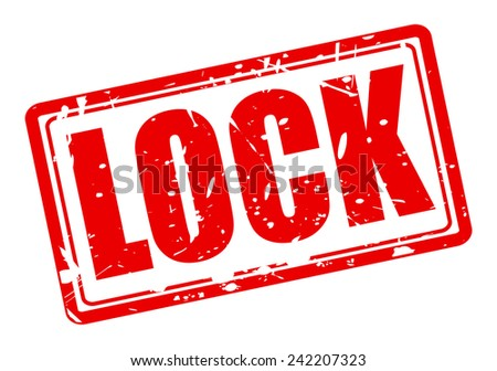Lock red stamp text on white - stock vector
