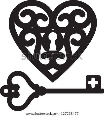 lock shaped heart and skeleton key - stock vector