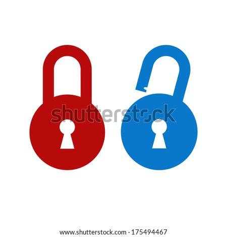 Lock unlock icon - stock vector