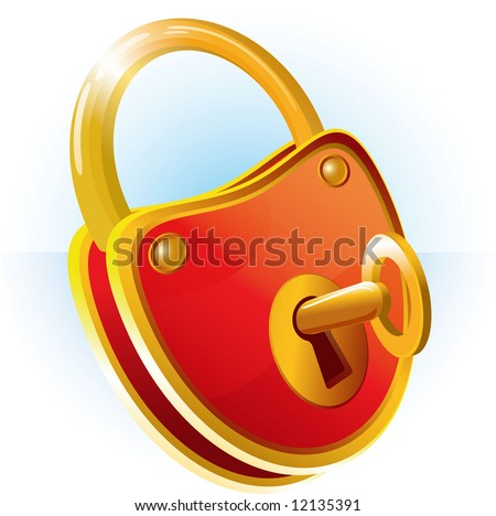 Lock with key. Vector. - stock vector