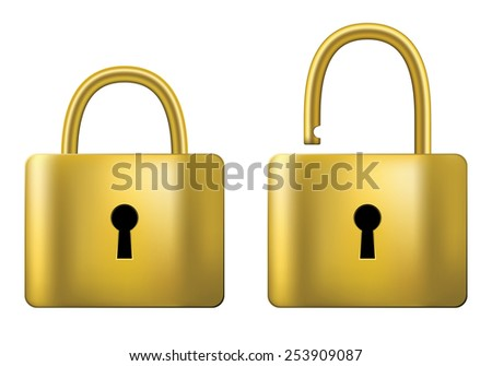 Locked and unlocked Padlock gold isolated on white background. - stock vector
