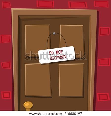 Locked door with table do not disturb - stock vector