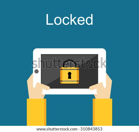 Locked phone for security concept illustration. - stock vector