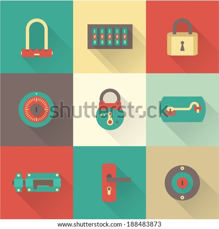 Locks icons - stock vector