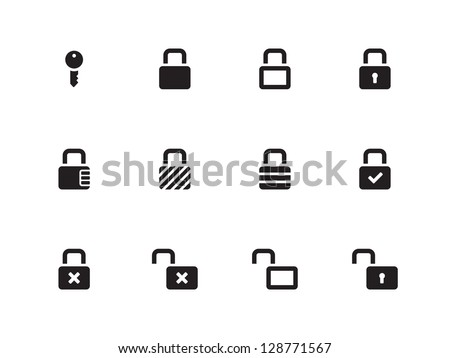 Locks Icons on white background. Vector illustration. - stock vector