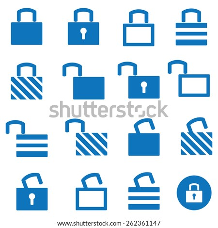 Locks Icons Set - stock vector