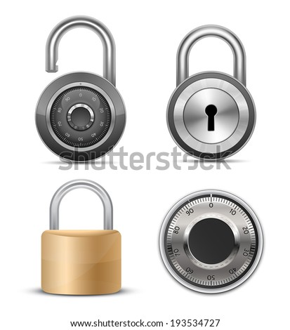 Locks & padlocks collection. Vector illustration - stock vector