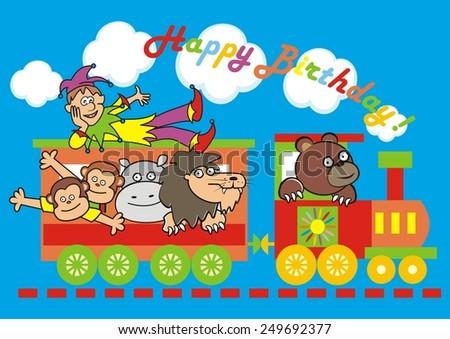locomotive and animals, birthday - stock vector