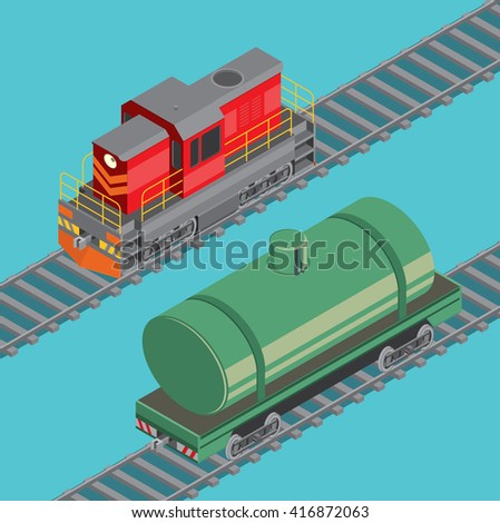 Locomotive and oil cistern. Railroad transport. Vector illustration - stock vector