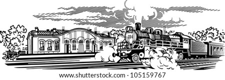 Locomotive engrawing picture. Vector illustration - stock vector